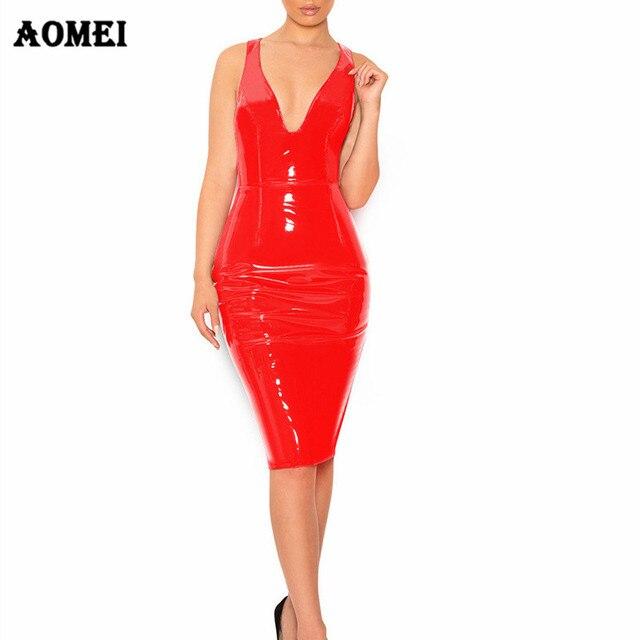 d5da9c986d Women Sexy Backless PVC Clubwear Tight Dress Deep V Neck 2019 Black Red Wet  Look Bodycon Faux Leather Party Wear Sheath Dresses