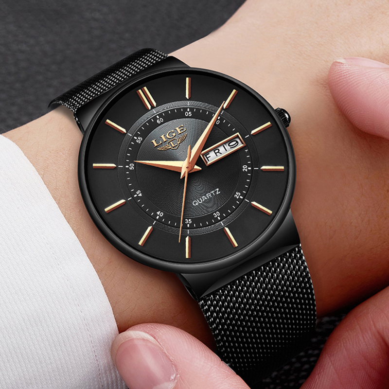 Image 4 - Mens Watches LIGE Top Brand Luxury Waterproof Ultra Thin Date Clock Male Steel Strap Casual Quartz Watch Men Sports Wrist Watch-in Quartz Watches from Watches