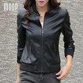 Abrigos de cuero partido negro rojo mujeres segunda capa de piel de cordero chaqueta de la motocicleta jaqueta de couro en cuir femme veste croped LT704