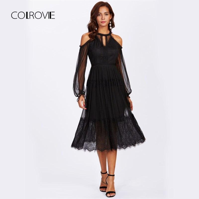 COLROVIE Ouvert Épaule Découpe Avant Mesh Overlay Cils Ourlet Robe Noir Froid Épaule Manches Longues Halter Élégant Parti Robe