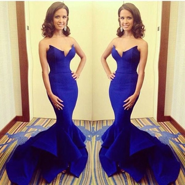 Royal Blue Satin Mermaid Prom Dresses 2016 Long Sexy Strapless Formal Dresses Court Train Backless Evening Dress with Ruffles