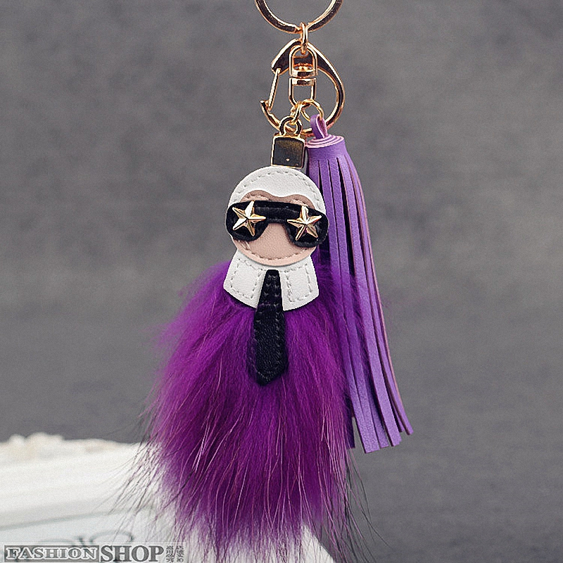 Fluffy Big Brand Genuine Raccoon Fur Pompom Monster Bag Bugs Charm Keychain Plush Key Ring Leather Tassel Pompom K001-purple