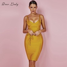Herten Dame 2019 Bandage Jurk New Arrivals Zomer Geel Bodycon Dress V-hals Spaghetti Herfst Bandage Dress Party Vrouwen(China)