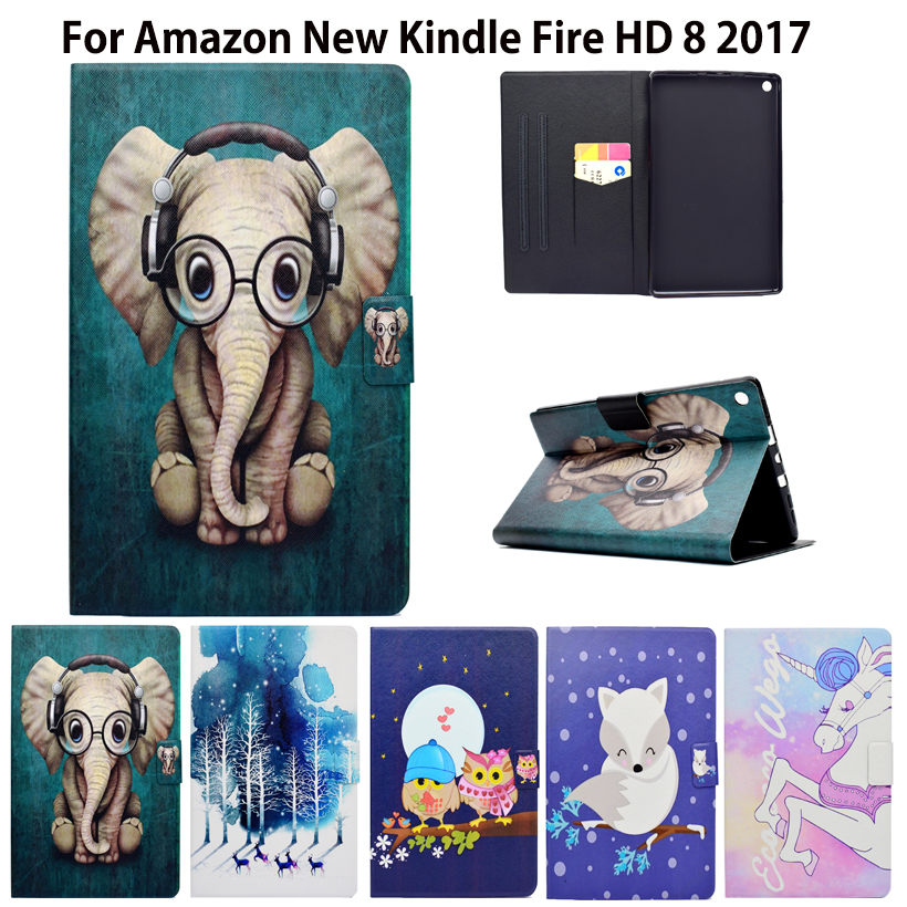 Kindle Fire Case Fashion Flip Case For Amazon New Kindle Fire HD 8 HD8 2016 2017 Smart Cover Funda PU  Stand Shel for amazon new kindle fire hd 8 2016 8inch 6th gen tablet case cover duty hybrid rugged durable child shockproof capa funda pen