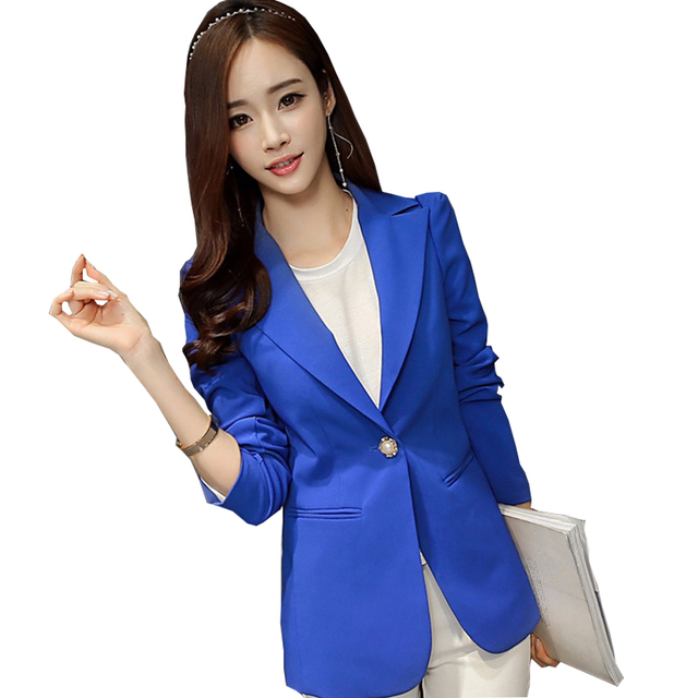 Blue Black One Button Slim Fit Women Business Suits Formal Office Suits Work Blazers And Jackets 2016 Spring Basic Jackets