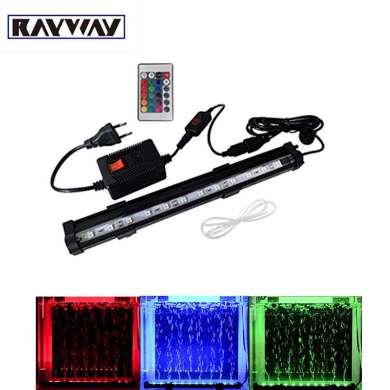 RAYWAY Top 28cm 48cm IP68 LED Aquarium Light Submersible Colorful Air Bubble RGB Color Fish Tank