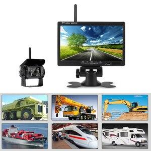 """Image 4 - Podofo 12V 24V Wireless 7 """"HD TFT LCD veicolo Backup telecamera posteriore Monitor + caricabatteria per auto per camion Bus camper rimorchio escavatore"""