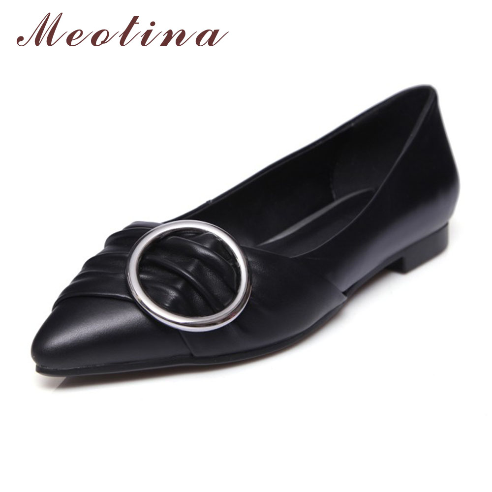 ФОТО Meotina Genuine Leather Shoes Women Flats Pointed Toe Fashion Ladies Flat Shoes Ballet Flats Red Black White Large Size 11 43 44