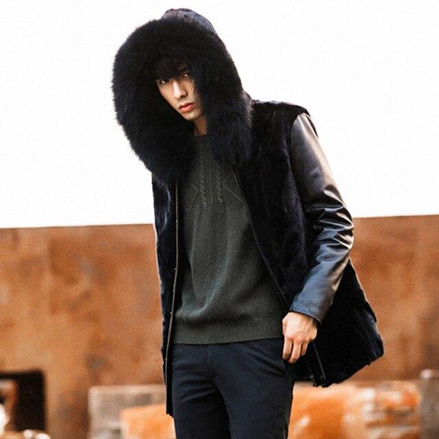 Mens Male Black Long Sleeve Patchwork Hooded Slim Leather Jackets Fur Coats Hoodies Zipper Outerwear Big Size XXXXL/4XL Y2120