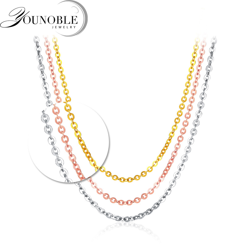 Genuine 18K White Yellow Gold Chain 18 inches au750 Rose Gold Necklace Pendant Wendding Party Gift