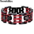 Trendsmax sport boys mens cadena doble fila skull color plata enlace pulsera de acero inoxidable 316l del motorista de la motocicleta hb222