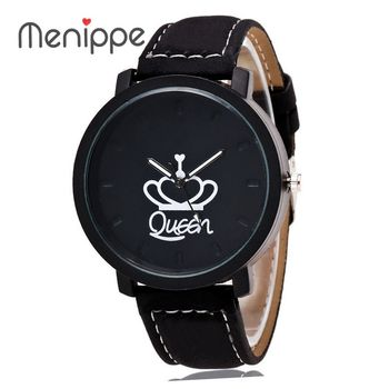 Fashion Brand King Queen Leather Strap Unisex Watches Men Quartz Women Dress Watch Sports Military Relojes Lover`s Wristwatch ailang classic roman number women business dress watches auto self winding real leather wristwatch calendar relojes 3atm nw7192