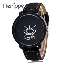 Fashion Brand King Queen Leather Strap Unisex Watches Men Quartz Women Dress