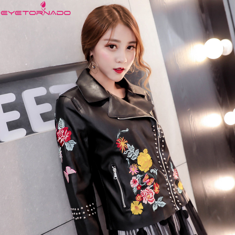 Здесь продается  Women flower embroidery rivet beadings Pu Leather jacket autumn slim short casual motorcycle bomber zipper black pilot jackets  Одежда и аксессуары