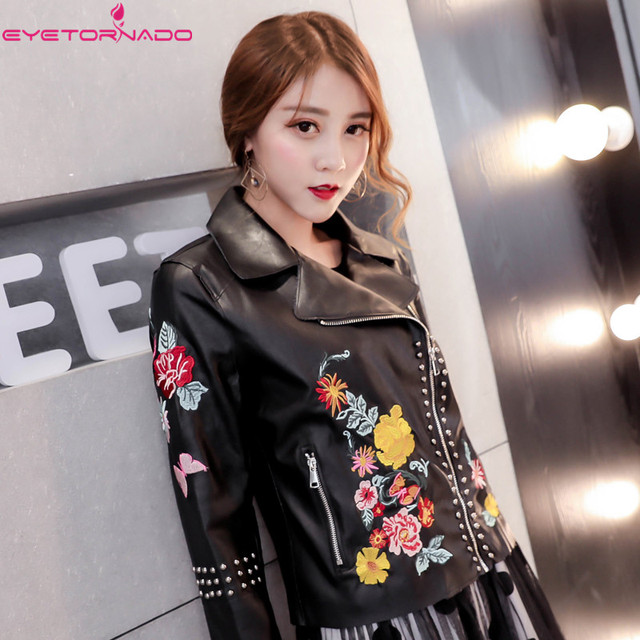Women flower embroidery rivet beadings Pu Leather jacket autumn slim short casual motorcycle bomber zipper black pilot jackets
