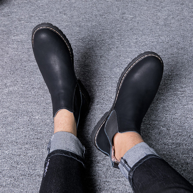 Plus Size 37-45 Chelsea Boots Men Winter Shoes Black Split Leather Boots Mens Footwear Warm Plush Fur Winter Boots For Men PINSV 2