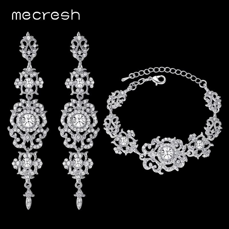 Mecresh серебро/золото Цвет Кристалл Наборы свадебных ювелирных изделий цветочный узор с длинным Серьги браслет Мода 2017 г. Jewelry SL031 + eh182