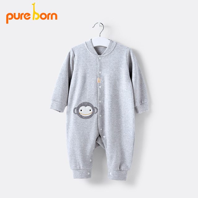 abca4435e Pureborn Baby Rompers Newborn Baby Clothes Cartoon Infant Fleece ...
