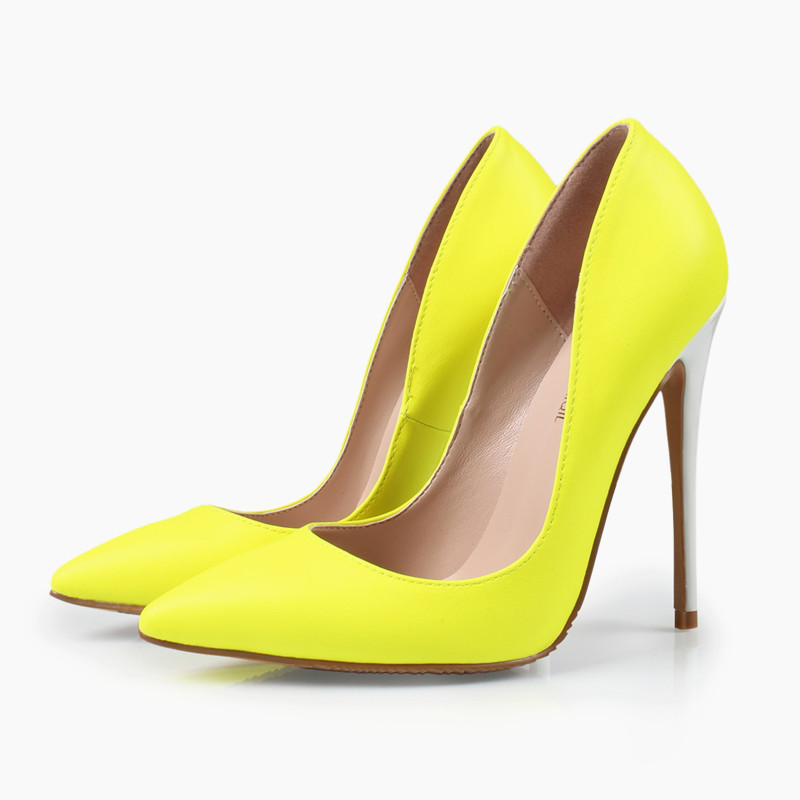 shoes woman high heels yellow shoes women pumps pointed toe ladies shoes 12cm thin heels wedding
