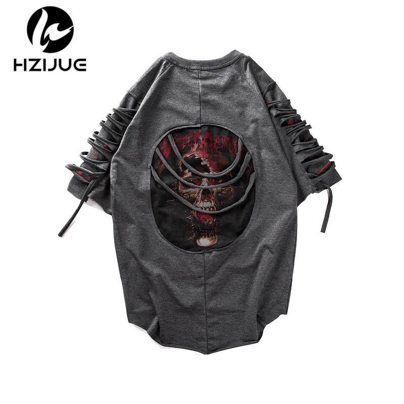 HZIJUE 2018 Summer Mens Short Sleeves Hip Hop Creative Graphic Skeleton Print T Shirt Personality Man Fashion Brand male T-shirt