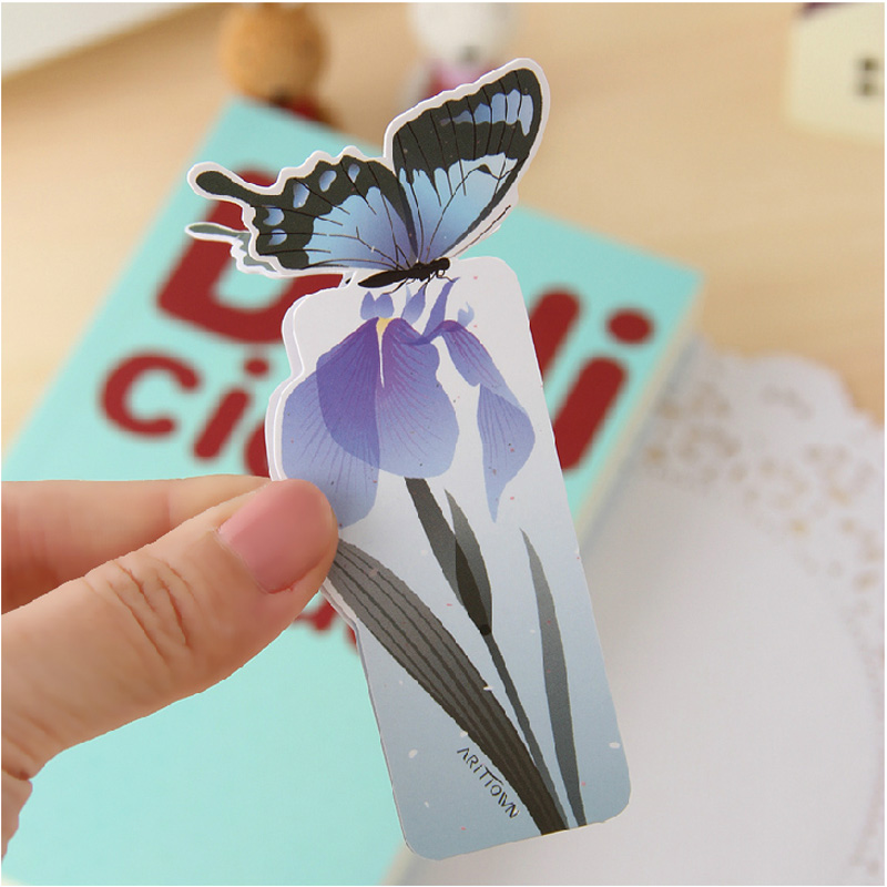1 set Bookmark Butterfly Style Teacher's Gift Book Marker Stationery Gift Realistic Cute Kawaii Cartoon 3d Bookmark 5
