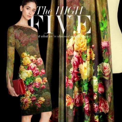 Sp102 Pure Silk Rose Centifolia Digital Print Silk Fabric