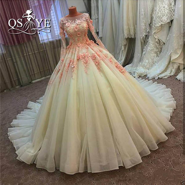 Vintage Ball Gown Wedding Dresses 2017 Real Photo 3D Floral Handmade Flowers  Court Train Tulle Long 2ad8ab4a694d
