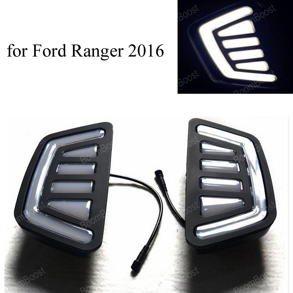for F/ord r/anger t7 2016 2017 15W 12v daytime running light turn signal lamp Car DRL one pair front grille led emblem logo light 4 colors abs decorative grill lamp for f ord r anger t7 2016 2017 car styling