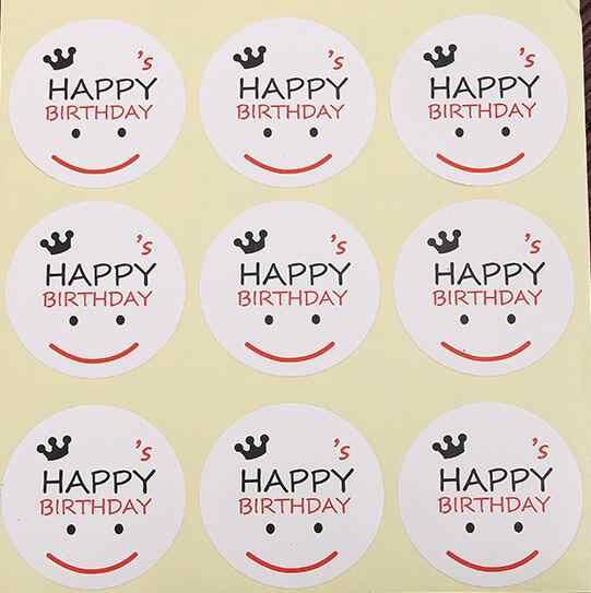 Selamat Ulang Tahun Segel Stiker Scrapbooking Kraft Tangan Membuat Kertas Label Amplop Kemasan DIY Kue Kotak Pembungkus Dekorasi Kue
