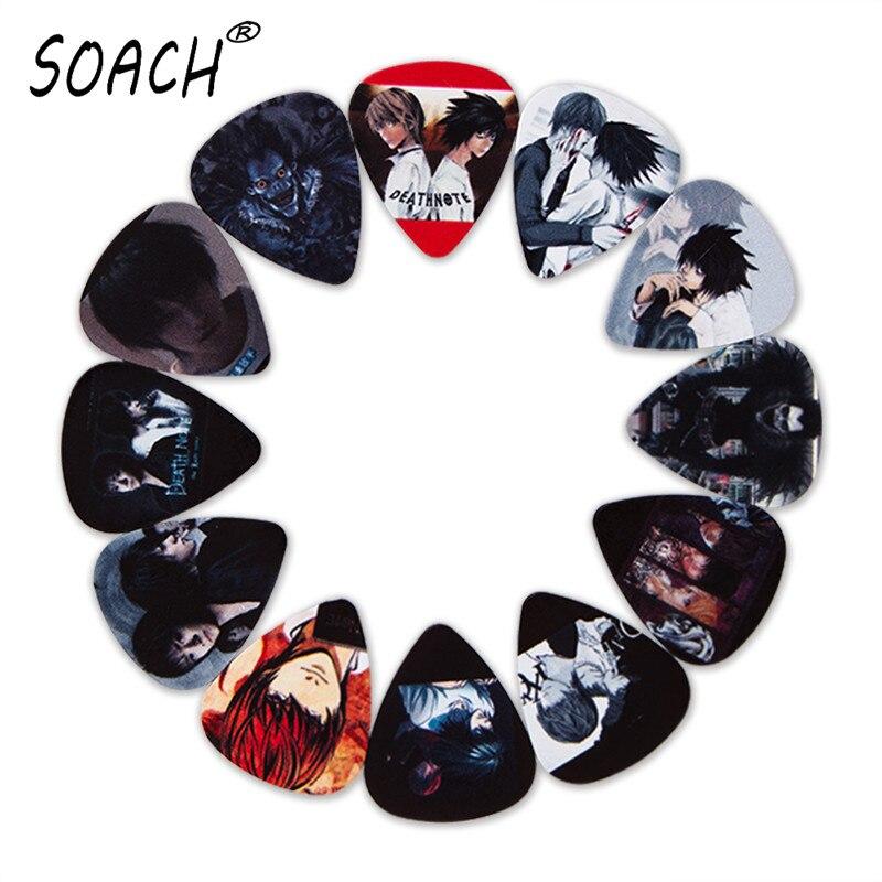 SOACH 10 Adet 3 çeşit Kalınlığında Yeni Gitar Seçtikleri Bas Japon Animesi Ölüm Notu Resimleri Yüksek Kaliteli Baskı Gitar Aksesuarları