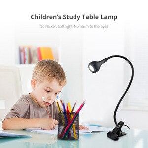 Image 5 - Lámpara Led de escritorio con Clip y alimentación USB, luz de noche Flexible, lámpara de mesa para estudio, lectura, cabecera, dormitorio, iluminación de libros