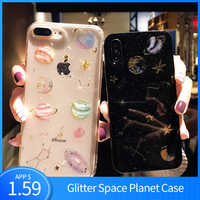 KSTUCNE Fashion Glitter Space planet phone Cases For iphone 7 XR XS MAX 6Plus For iPhone X 8 Soft silicon Star back cover Case