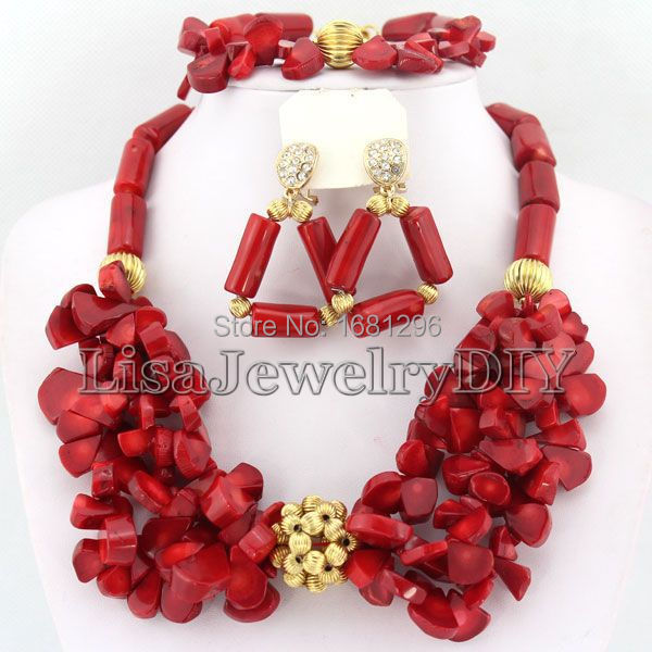 Red African Coral Beads Jewelry Sets Nigerian Wedding African Beads Jewelry Sets Free Shipping    HD0812Red African Coral Beads Jewelry Sets Nigerian Wedding African Beads Jewelry Sets Free Shipping    HD0812