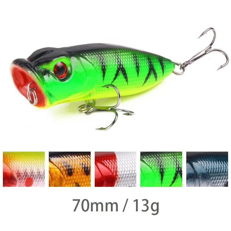 7cm/13g Fishing Lure 5 Color Popper Wobbler Plastic Bait 3D Eyes Isca Artificial Bait Fish Bait Outdoor Fishing Gear Accessories