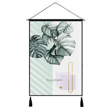 Nodic Green Leaf Print Hanging Painting Watercolor Wall Art Picture Poster Modern Simple Wood Tassel Living Room Home Decor watercolor leaf flamingo tassel hanging painting wall decor print