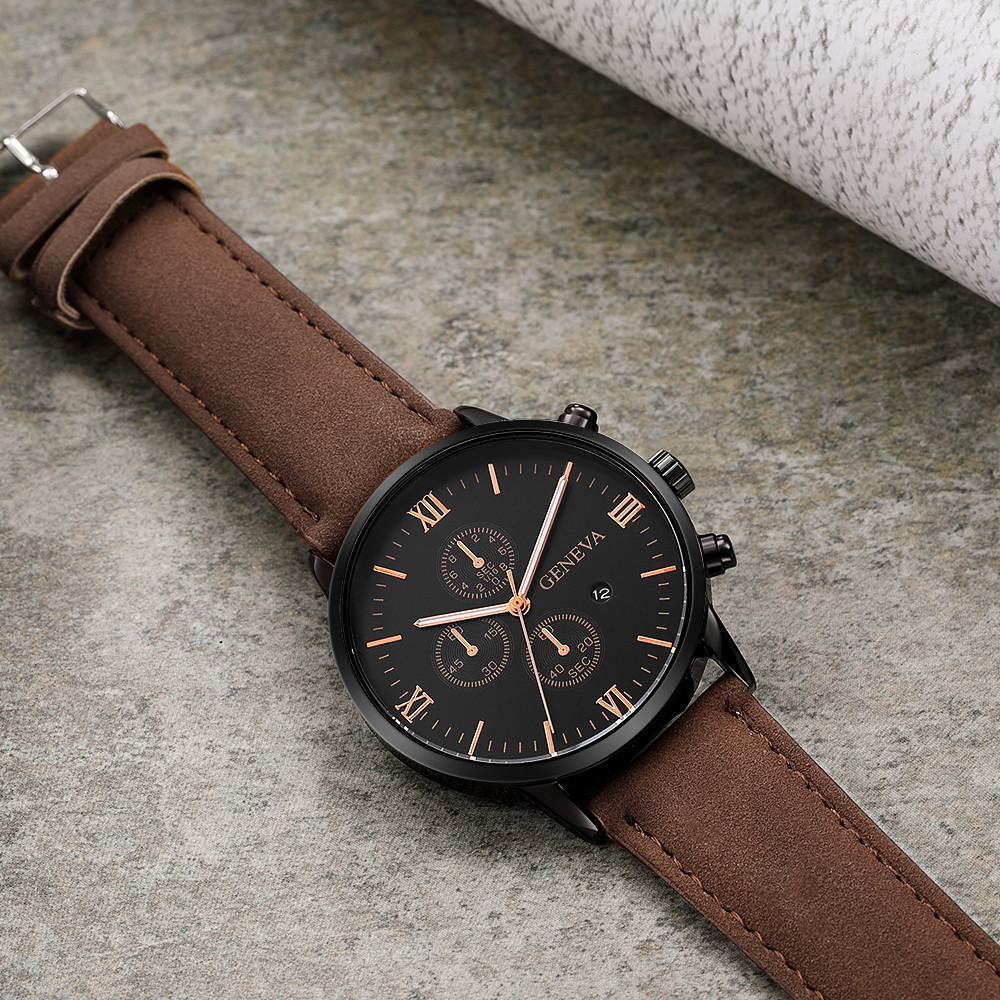 Fashion Mens Watch Date Alloy Case Synthetic Leather Watchbands Analog Quartz Sport Watches Simple Round Clock Dial Watch Watches