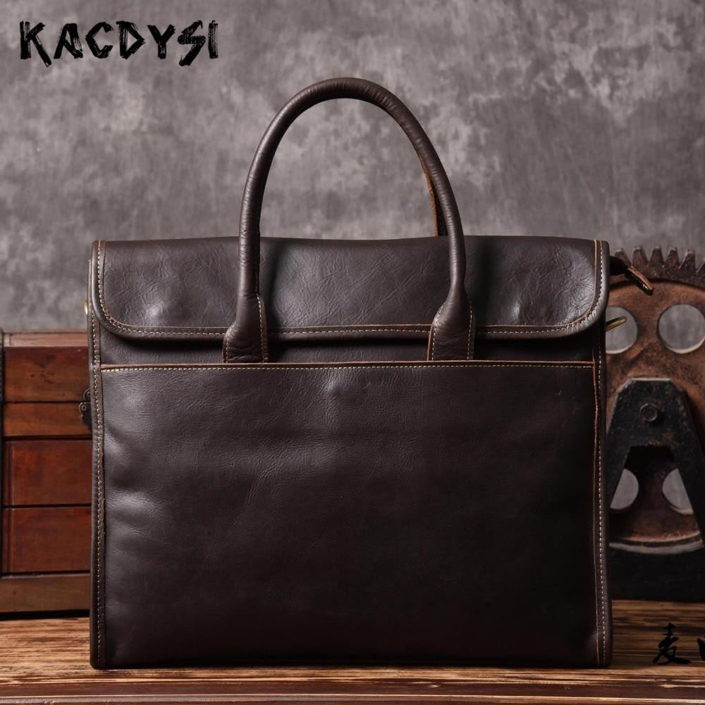 Original de cuero genuino maletín bolso Vintage cuero de vaca grandes negocios hombre en ordenador bolso de hombro-in Carteras from Maletas y bolsas    1