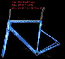 2019 style disc carbon bike frame 58cm Bicycle Frame 142*12 Carbon Road frameset glossy finished  supper light race frameset