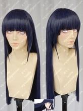 Anime NARUTO Hyuga Hinata düz saç düzgün patlama Cosplay peruk + peruk kap