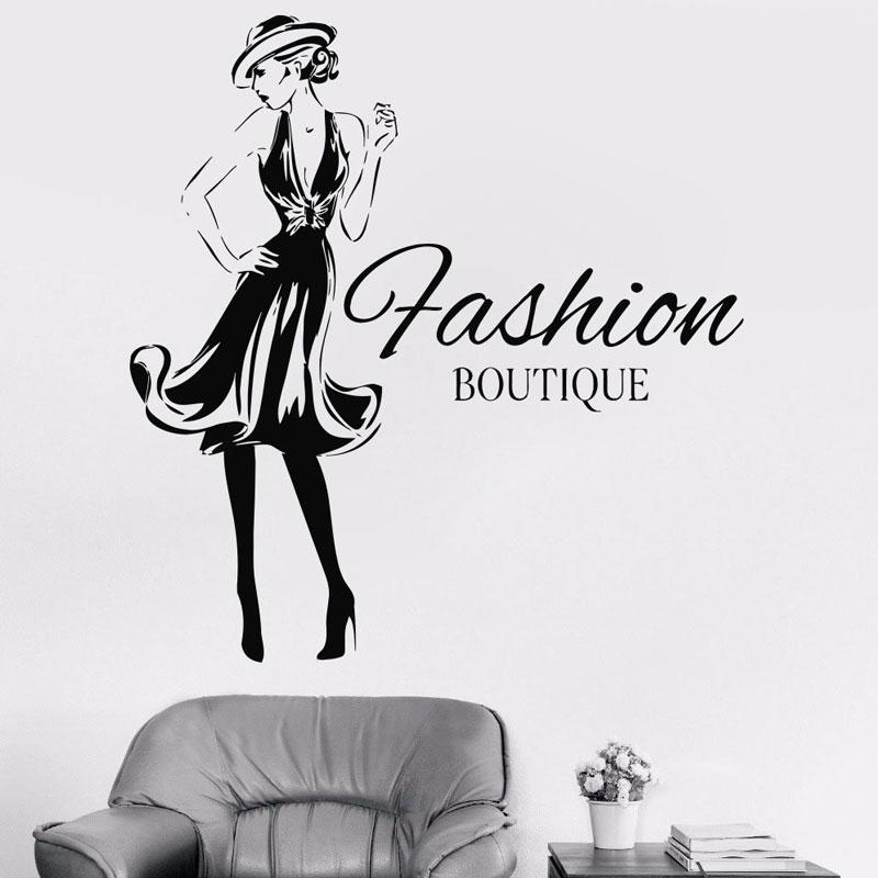 Fashion Woman Design Vinyl Sticker Girls Fashion Clothing Boutique Window Shop Livingroom Wall Decal Gil Dorm Decal FS14 in Wall Stickers from Home Garden