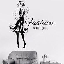 Fashion Woman Design Vinyl Sticker Girls Clothing Boutique Window Shop Livingroom Wall Decal Gil Dorm FS14