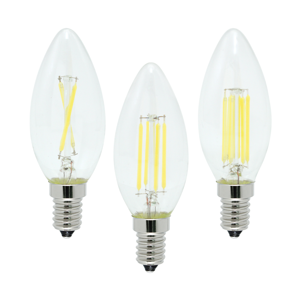 4W 8W 12W E14 LED Filament Lamp Glass COB Chips Blub 220V Retro Edison Candle For Chandelier Lights Lighting Dimmable statue