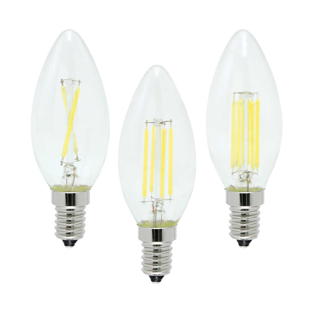 4W 8W 12W E14 LED Filament Lamp Glass COB Chips Bulb 220V Retro Edison Candle For Chandelier Lights Lighting Dimmable
