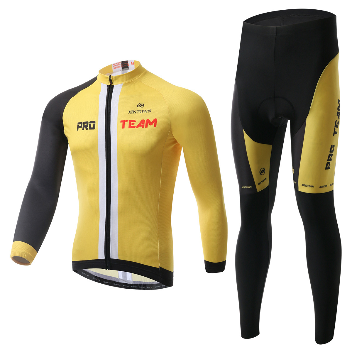XINTOWN new leader yellow jersey long sleeve suit bicycle riding wear suits spring and autumn moisture sweat pants