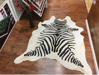 Pure Natural Cowhide Rug Black Coffee Lines Of Milk Cow Leather Carpet FREE SHIPPING