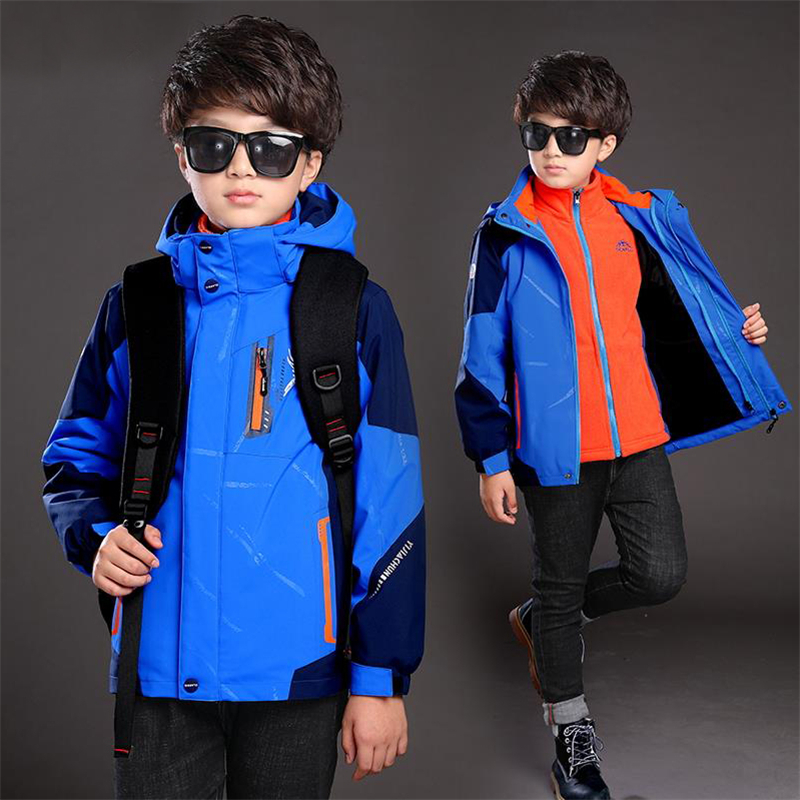 Boys 2017 autumn and winter section thickening jacket children wear Jackets plus cashmere triple new large cotton coat
