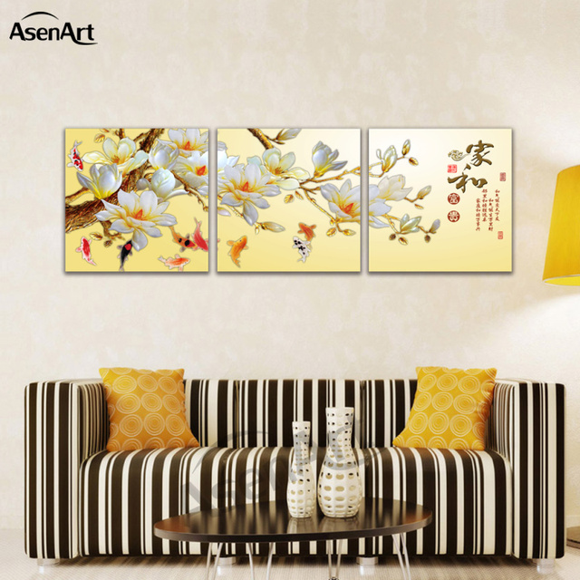 Fish Chinese Calligraphy Canvas Art 3 Panel Prints Wall Art for Kids ...
