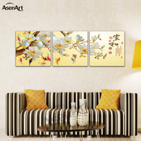 Fish Chinese Calligraphy Canvas Art 3 Panel Prints Wall Art For Kids Room No Frame