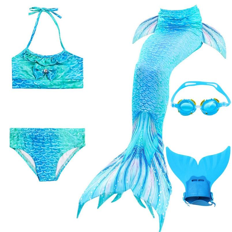 5PCS Kids Swimming Mermaid Tail Bikini with Monofin Costume Cosplay Mermaid Tails Finned Swimwear for Children Girls Clothes