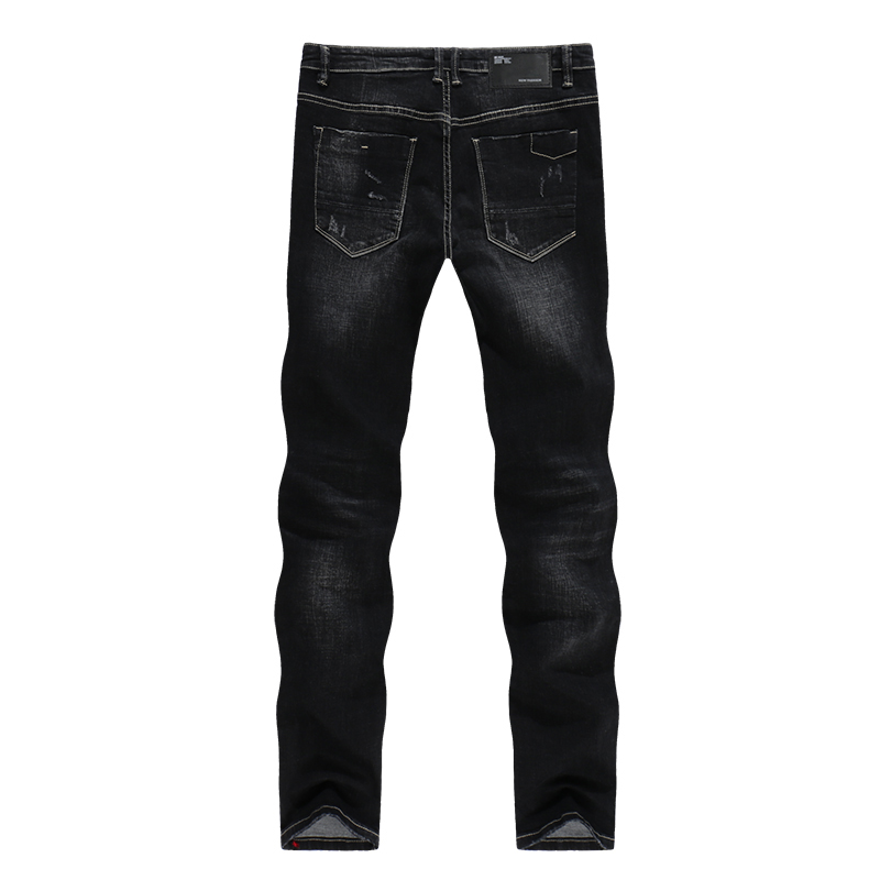 KSTUN Solid Black Jeans Men Autumn and Winter Distressed Stretch Streetwear Ripped Men Casual Pants Slim Hiphop Cowboys Trousers 12
